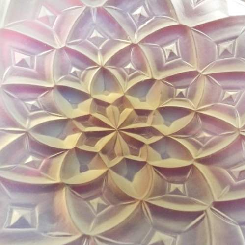 French Art Deco Hunebelle Opalescent Glass Geometric Dahlia Bowl image-5