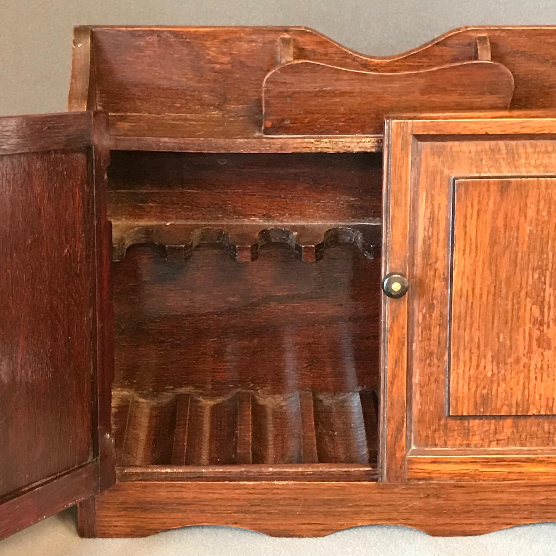 Late 1800s Oak Pipe Smokers Cabinet - Tantalus Barrels