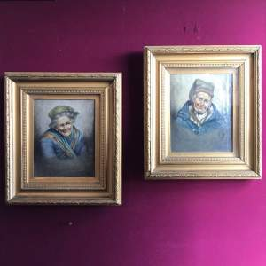 Pair of Dutch Oil on Canvas Portraits