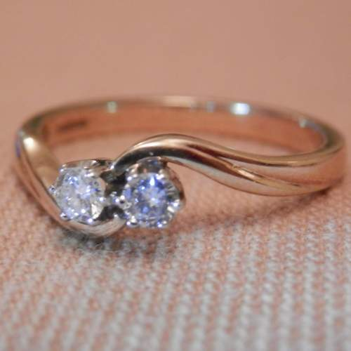 9ct Gold Ring set with two Diamonds Size U image-1