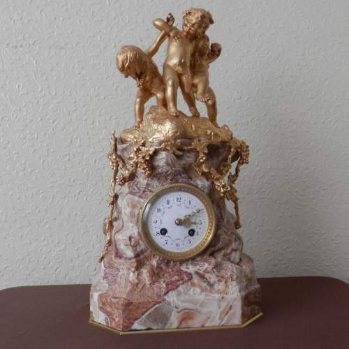 French 8-Day Gilded Bronze and Marble Clock image-1