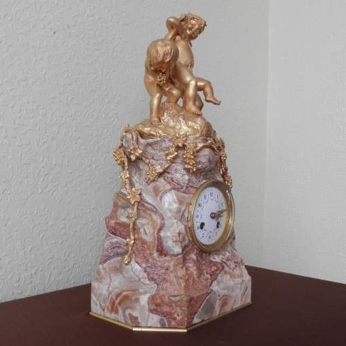 French 8-Day Gilded Bronze and Marble Clock image-3