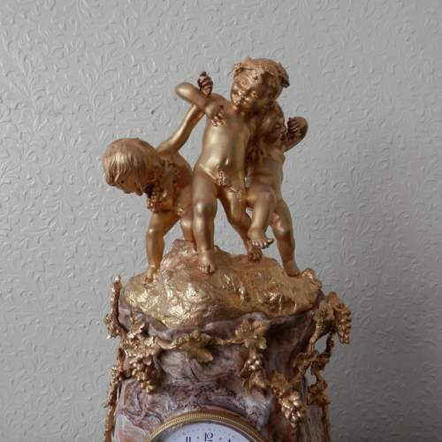 French 8-Day Gilded Bronze and Marble Clock image-6