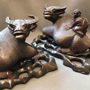 Pair of Chinese Carved Hardwood Water Buffalo
