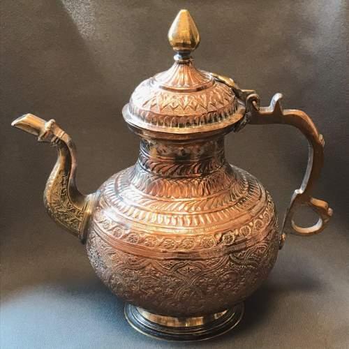 Decorative Middle Eastern Copper Tea Pot image-1