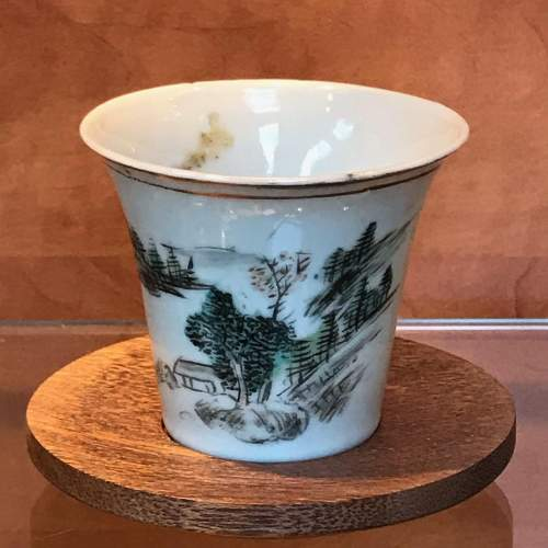 Chinese Tea Cup with Wooden Stand image-1