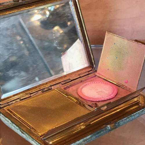 1930s Shagreen Cigarette Case and Powder Compact image-3