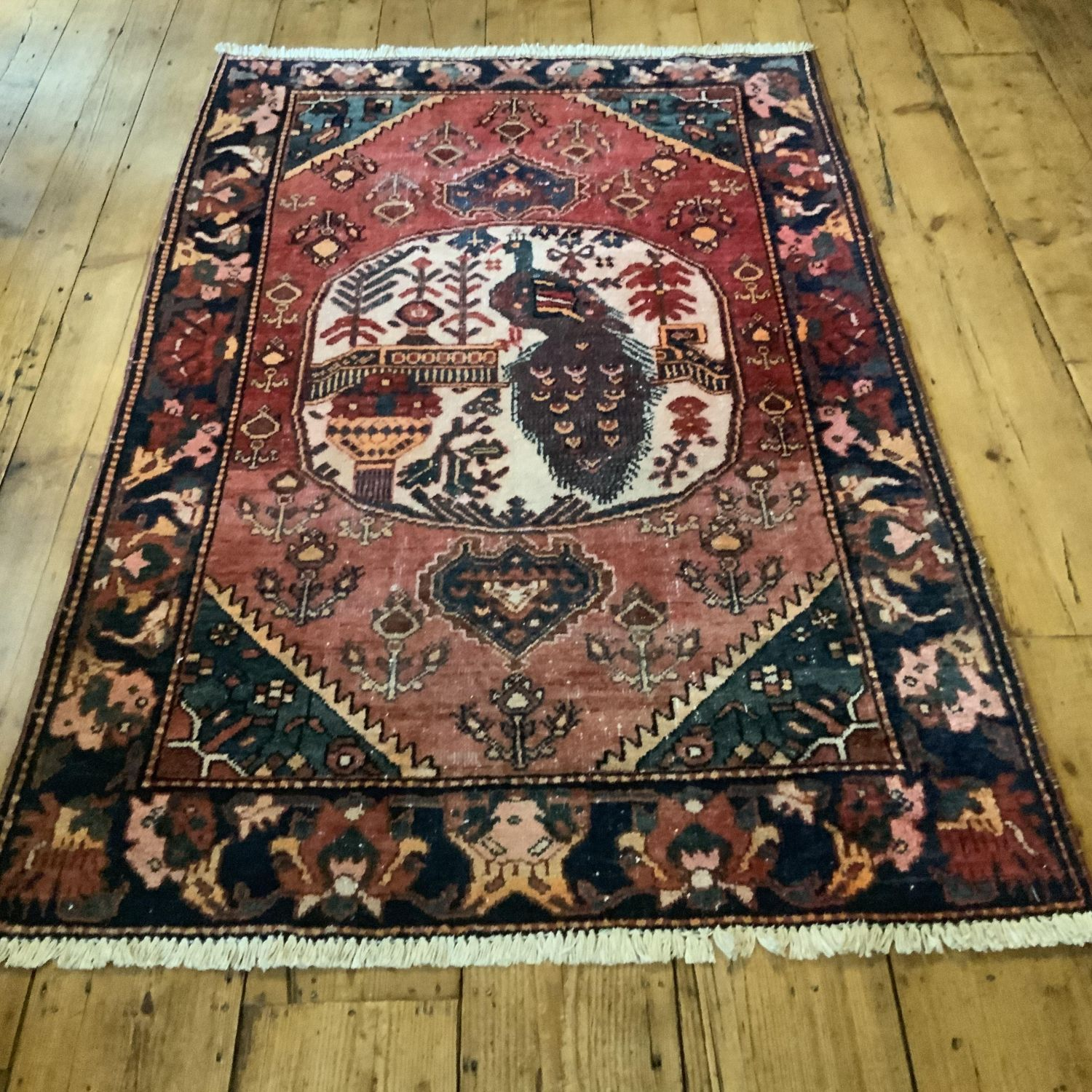 Old Hand Knotted Persian Rug Hamadan With Unusual Pea Design