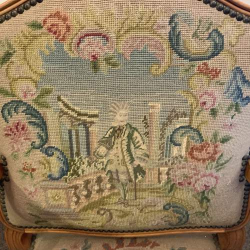Wide French Arm Chair With Floral Picture Needlepoint Coverings image-2