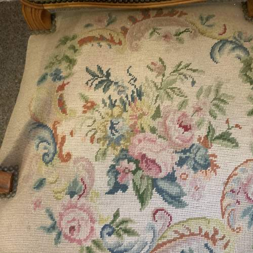 Wide French Arm Chair With Floral Picture Needlepoint Coverings image-3