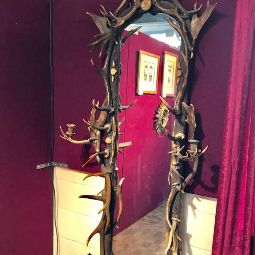 Large 19th Century Black Forest Antlers Mirror image-1