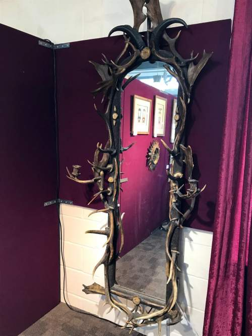 Large 19th Century Black Forest Antlers Mirror image-5
