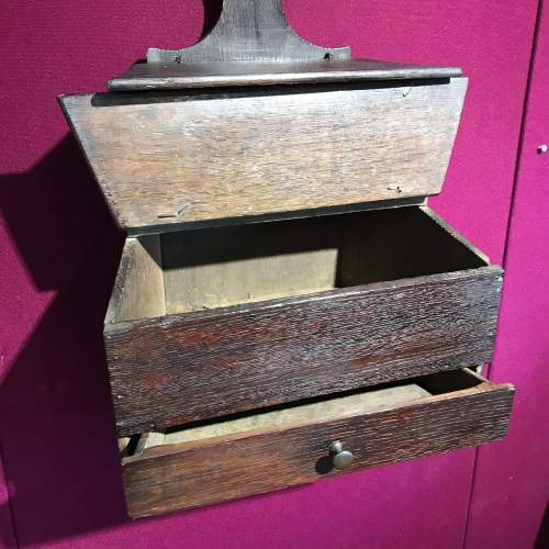 Queen Anne Period Wall Mounted Oak Storage Box image-2