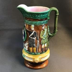 19th Century Majolica Military Souvenir Relief Pitcher