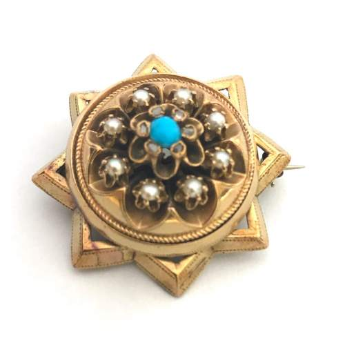 Pearl and Turquoise Diamond Star Brooch image-5