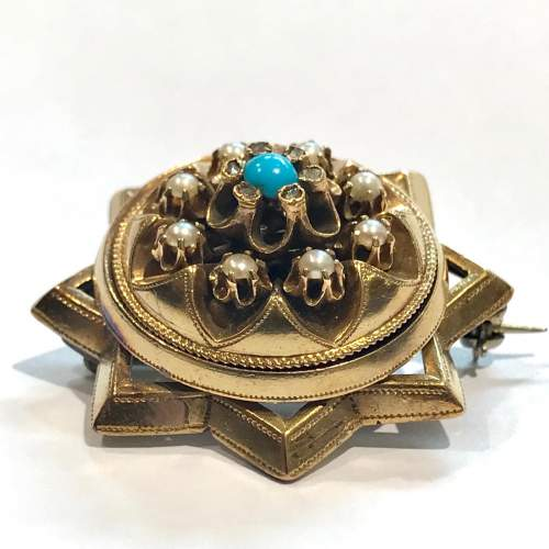 Pearl and Turquoise Diamond Star Brooch image-1