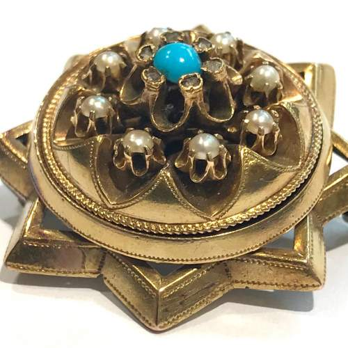 Pearl and Turquoise Diamond Star Brooch image-3