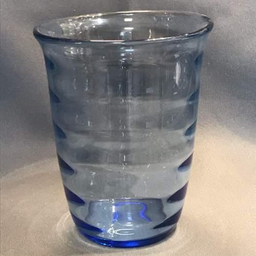 Whitefriars Internal Ribbed Sapphire Glass Vase image-1