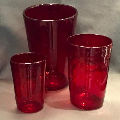 Set of Three Whitefriars Glass Wave Ribbed Tumbler Vases image-1