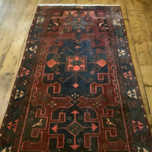 Unusual Old Hand Knotted Kurdish Rug Good Design And Colours image-1