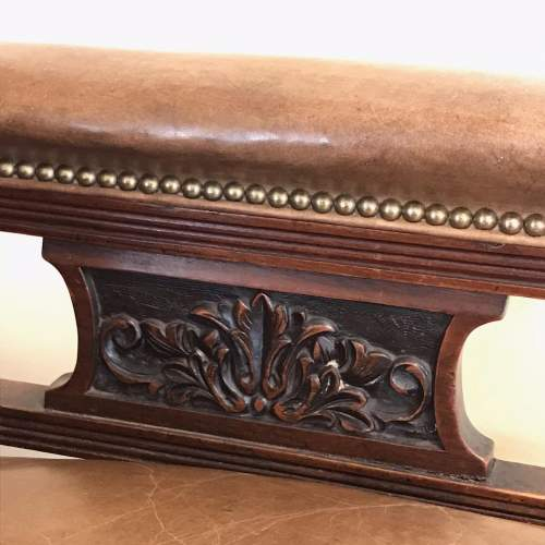 Antique Open Framed Leather Reading Chair image-4