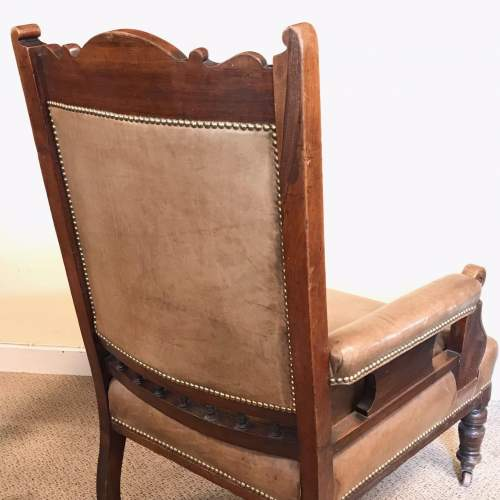 Antique Open Framed Leather Reading Chair image-6