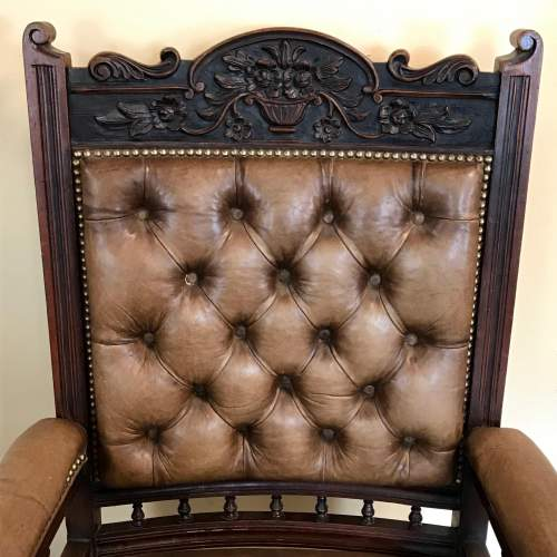 Antique Open Framed Leather Reading Chair image-3