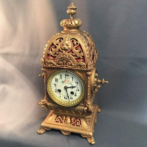 Highly Decorative French Brass 8-Day Mantel Clock image-1