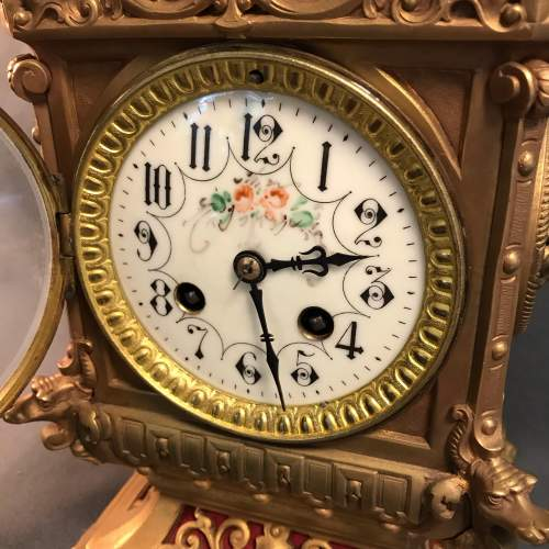 Highly Decorative French Brass 8-Day Mantel Clock image-2
