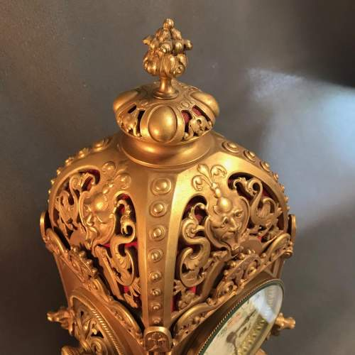Highly Decorative French Brass 8-Day Mantel Clock image-3