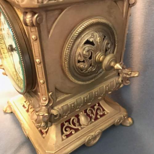 Highly Decorative French Brass 8-Day Mantel Clock image-4