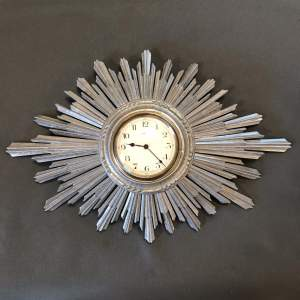 Sunburst Retro Silver Wood Wall Clock