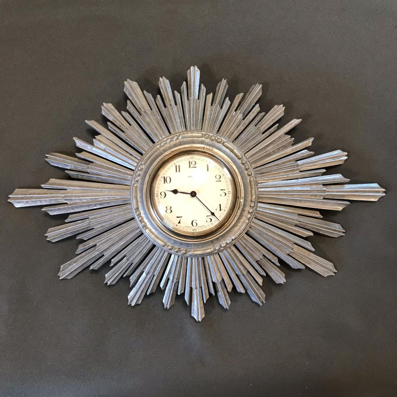 Sunburst Retro Silver Wood Wall Clock Furniture Etc
