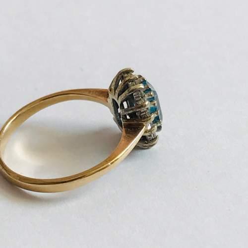 9ct Gold Diamond Blue Zircon Rectangular Cluster Ring image-2