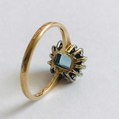 9ct Gold Diamond Blue Zircon Rectangular Cluster Ring image-3