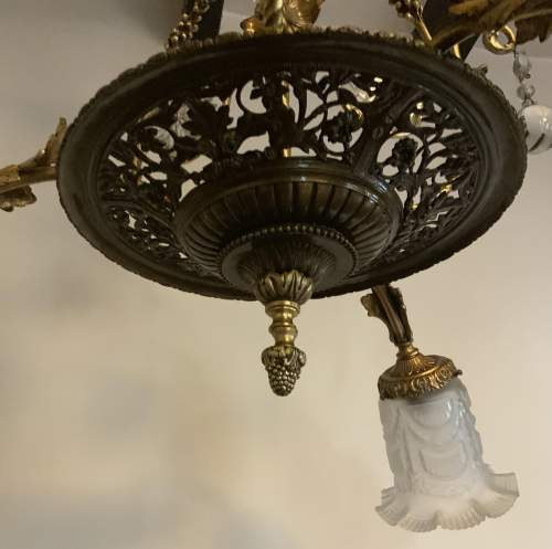 French Floral Foliage Ornate Brass Chandelier image-2