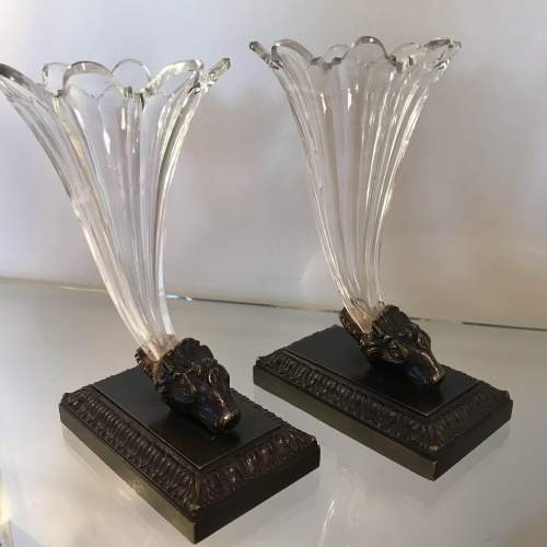 Pair of Regency Bronze and Glass Cornucopia Vases image-1