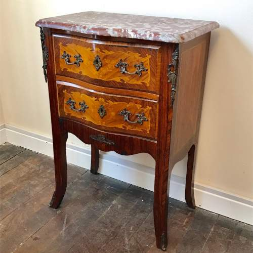 French Inlaid Red Marble Topped Commode image-1