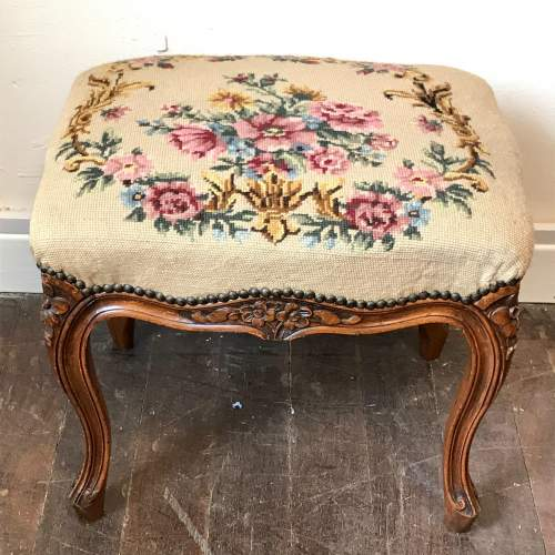French Tapestry Top Stool image-1