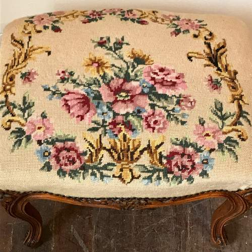 French Tapestry Top Stool image-2