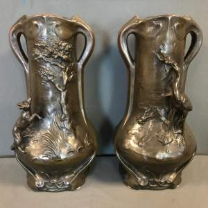 Pair of Signed Early 20th Century Copper Clad Vases