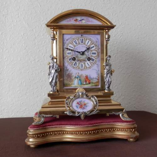 19th Century Silvered and Gilded Bronze Mantel Clock image-1