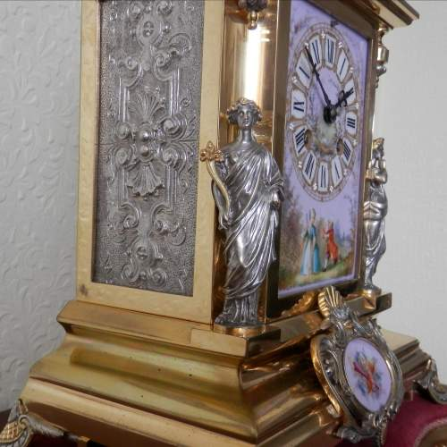 19th Century Silvered and Gilded Bronze Mantel Clock image-3