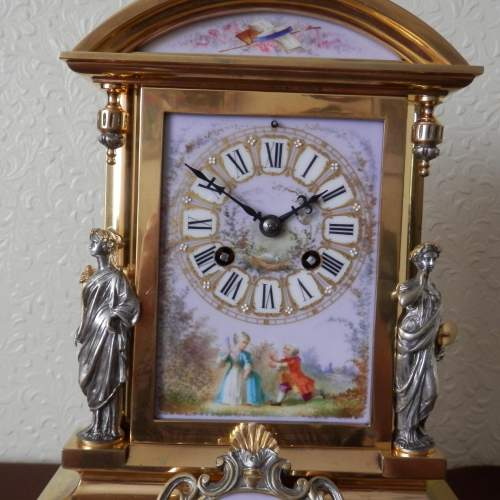 19th Century Silvered and Gilded Bronze Mantel Clock image-4