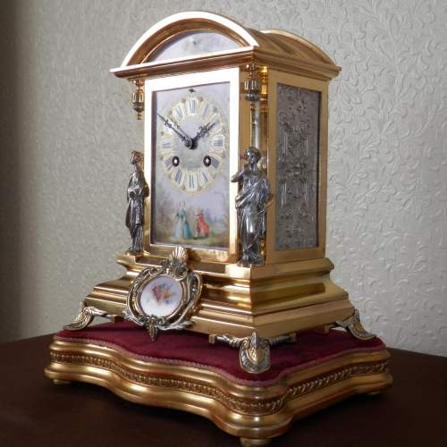 19th Century Silvered and Gilded Bronze Mantel Clock image-6