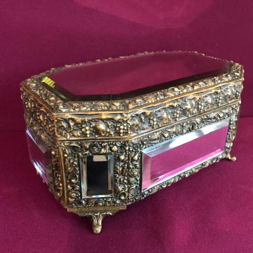 French Brass Octagonal Mirrored Box image-1