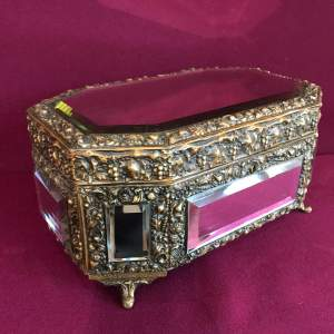 French Brass Octagonal Mirrored Box
