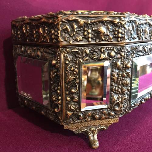 French Brass Octagonal Mirrored Box image-3
