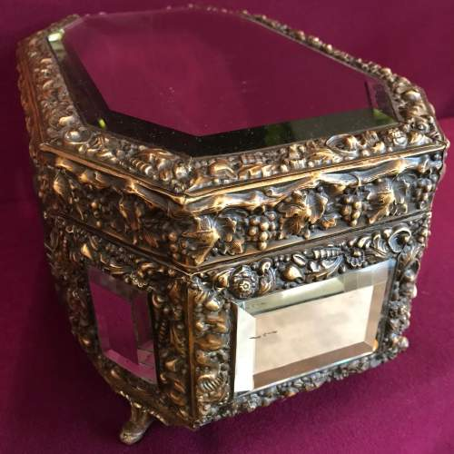 French Brass Octagonal Mirrored Box image-4