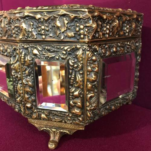 French Brass Octagonal Mirrored Box image-5